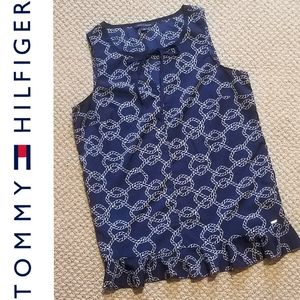 NWOT T.H. sleeveless sailor knot print silky top